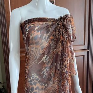 Brown sheer leopard beach pareo swimsuit cover-up